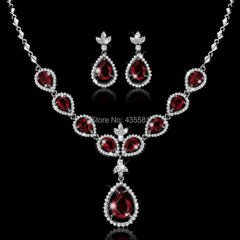 BPrincess Oval Cut AAA+ CZ Crystal Garnet Topaz &amp;White CZ Crystal Earrings Pendant Necklace Set in 18K White Gold Plated GTLX91<br><br>Aliexpress