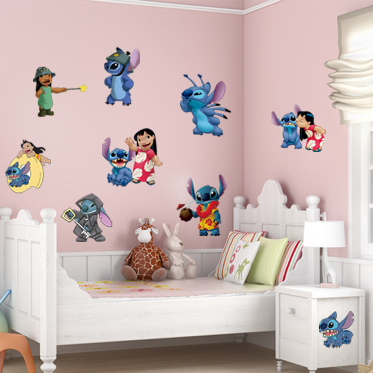 Cartoon Wall Stickers For Kids Rooms Lilo & Stitch Wall Decal Green ...