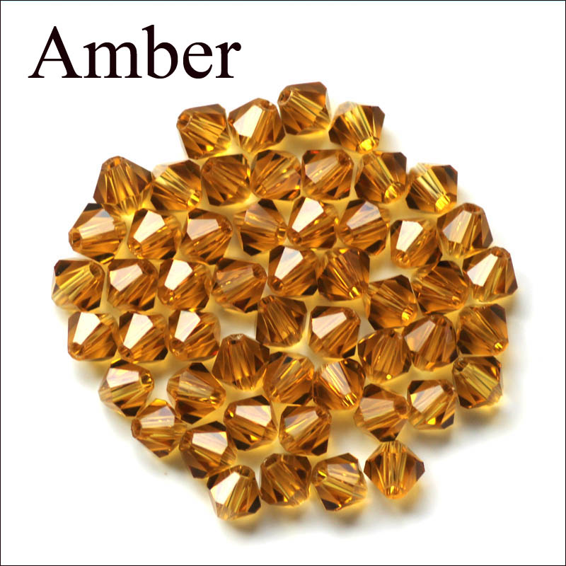 4MM 200pcs/lot New !Top Quality !Amber/Clear/Transparent Faceted Glass String Beads for Jewelry Making Bicone Free Shipping(China (Mainland))