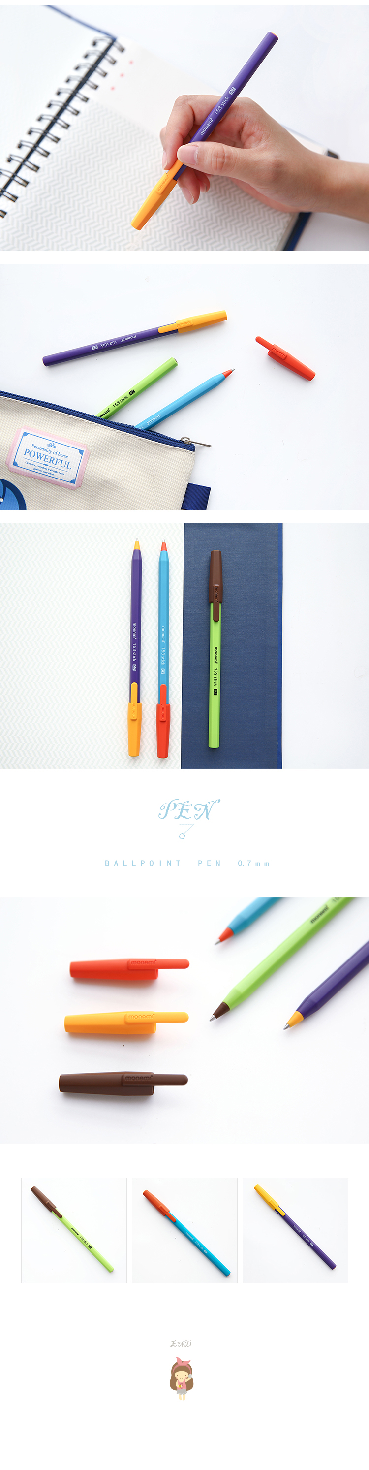 1 Pcs Cute Kawaii Hit Color Writing Roller Accessories Gift Ballpoint Pen Office School Supplies Stationery Kids Student Child