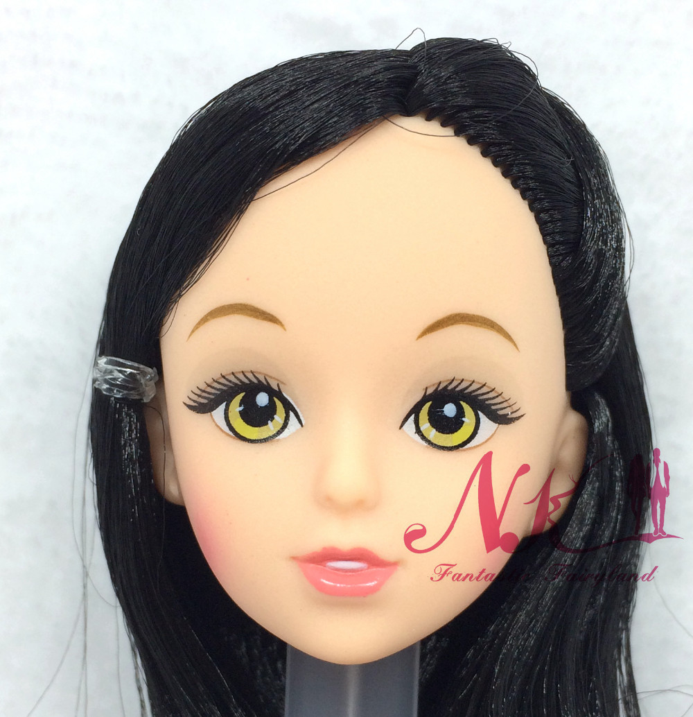 NK One Pcs  Style Doll Head  Black Hair DIY Equipment For Barbie Kurhn Doll Finest Woman' Present Little one DIY Toys 024J