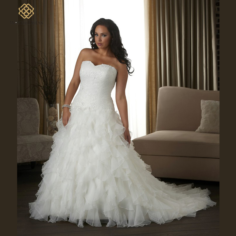 Buy romantic sweetheart lace appliques for Plus size beaded wedding dresses