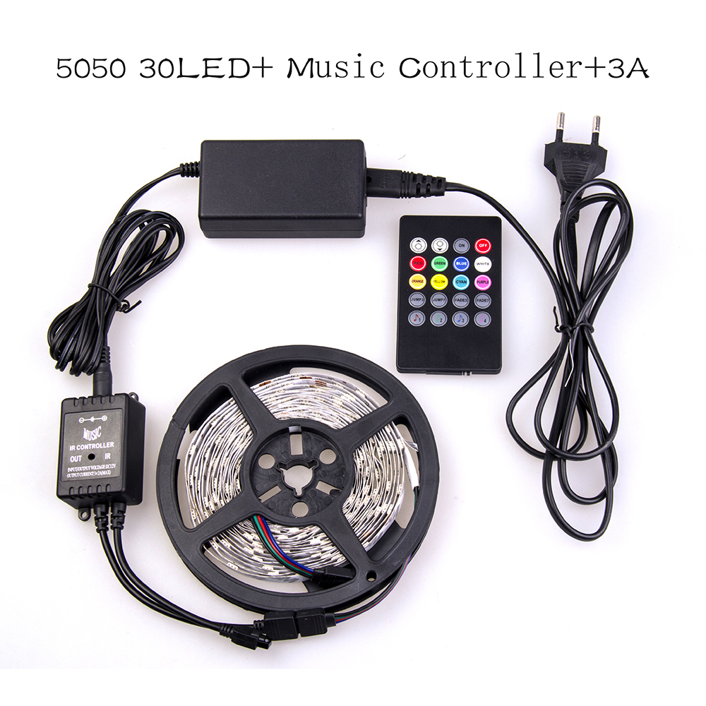 2014 RGB Led Strip 5050 Flexible LED Light 5M 150leds SMD +20 Key music Controller + 12V 3A Power Adapter(China (Mainland))