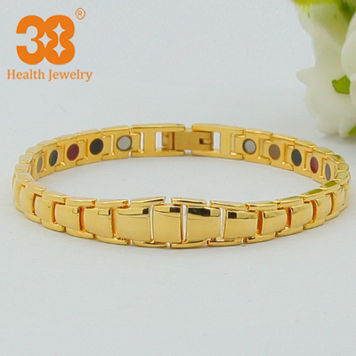 New Style 100% Pure Copper Magnetic Bracelet Germanium 24K Gold Plating Health Element Bracelets for Man Women(China (Mainland))