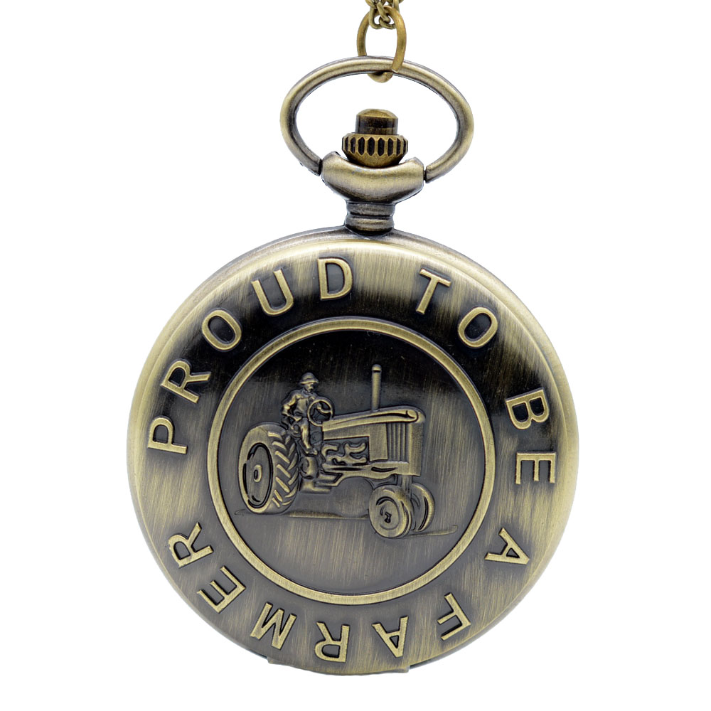 Fashion Bronze Tractor Design ' Proud To Be A farmer ' Quartz Pocket Watch Analog Pendant Necklace Men Women Watches Gift(China (Mainland))