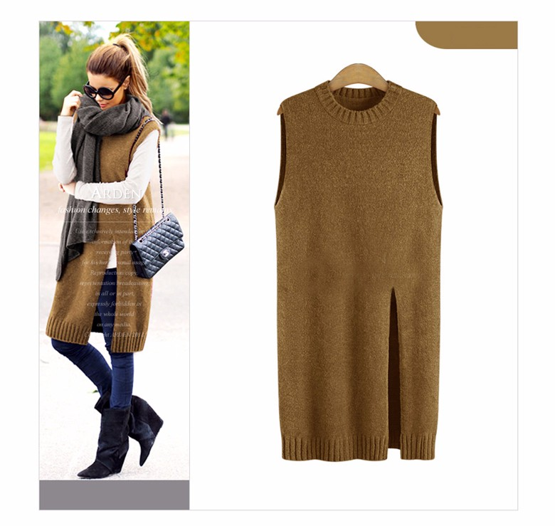 SusanDick 2016 Women Sweaters And Pullovers Plus Size Sleeveless Autumn Winter Long Sweater Elegant Vent Cashmere Sweaters 5XL