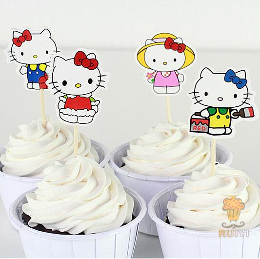 24 pcs/lot Hello Kitty Theme Party Supplies Cartoon Cupcake Toppers Pick Kid Birthday Party Decorations wedding decoration(China (Mainland))