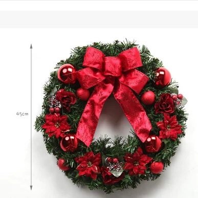 2015 Christmas Present The Hotel Window Market Props Christmas Wreath In Green And Red SD017(China (Mainland))