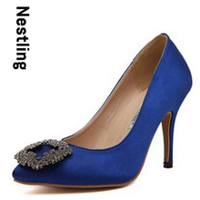 Plus Size 33-41 Brand New 2015 High Quality Manolos Wedding Shoes Fashion Rhinestone Women Pumps High Heels Party Shoes D30-572(China (Mainland))