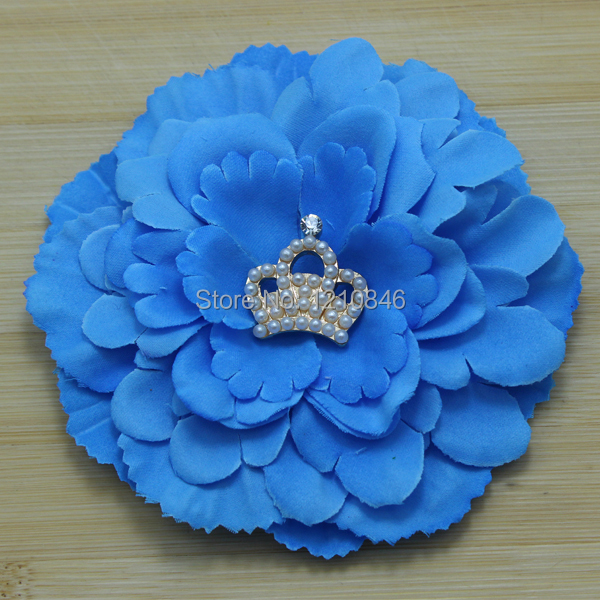 2014 large peony fabric flower brooch with tiara Crown for baby girls' clothes/cap/ hair clip accessories 240pcs/lot(China (Mainland))