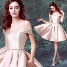 2017 New Cocktail Party Short Homecoming Dress Pink A line Off The Shoulder Lace Up Mini Length Satin Graduation Dresses Short(China (Mainland))