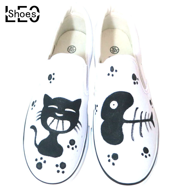 Black Cat and Blackfish Bone Style Low Slip-On Breathable Shoes for Hand Painted Canvas Women Shoes Woman Brands Casual Sneakers<br><br>Aliexpress