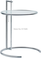 1 piece adjustable tempered clear glass top chromed steel side Elieen gray tea table coffee table