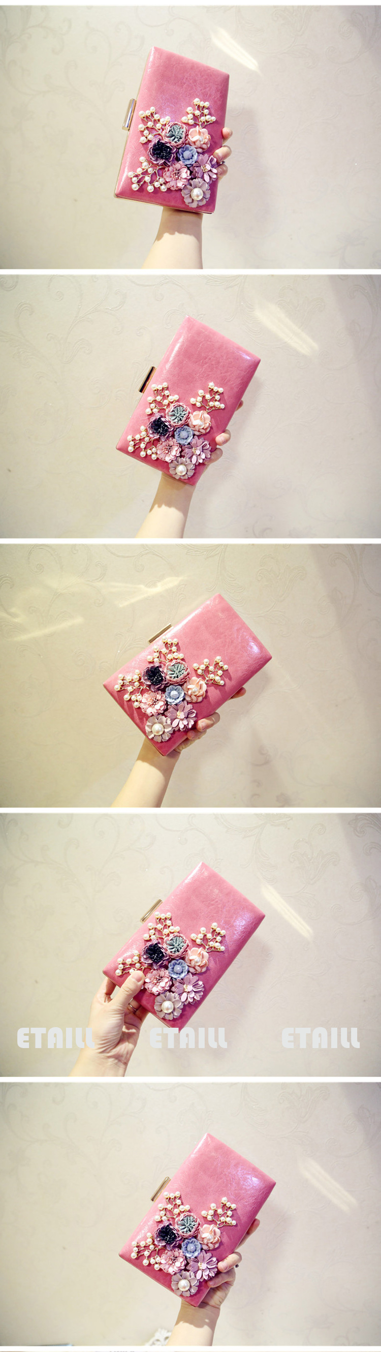 Flower Evening Bags Female Floral Beaded Clutch Bag