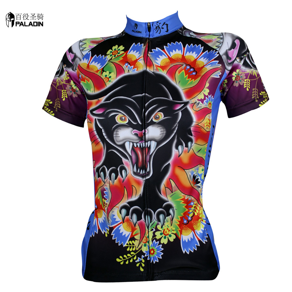 Women cycling jersey short sleeve 2014 Cool Ropa Ciclismo Mujer High quality PALADINsports Panther Multi(China (Mainland))
