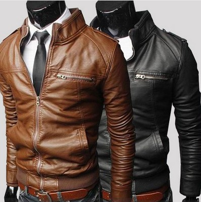 Mens PU Motorcycle Leather jackets men jaqueta de couro masculina Men leather coat motorcycle jacket collar British version(China (Mainland))