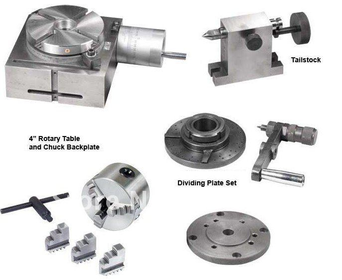 Rotary Table Set for Drill&Mill Machine/With Chuck,Tailstock,Dividing Plate Set and Flange/Delivery EMS or DHL(China (Mainland))