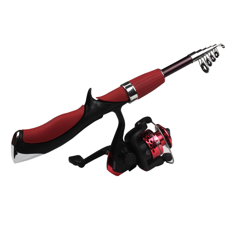 portable telescopic fishing rod carbon red fishing combo