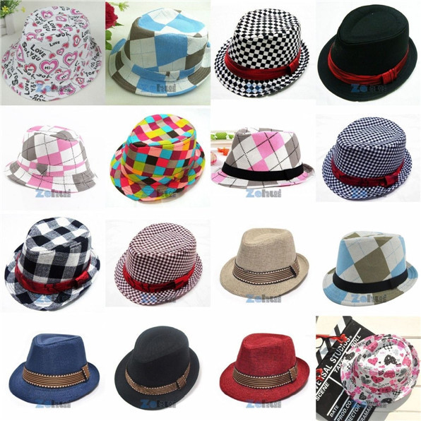 21 Colors Fashion Kids Chic Jazz Toddler Baby Boy Girl Cap Hats Cool Photography Fedora Hat Cotton Top 2015(China (Mainland))