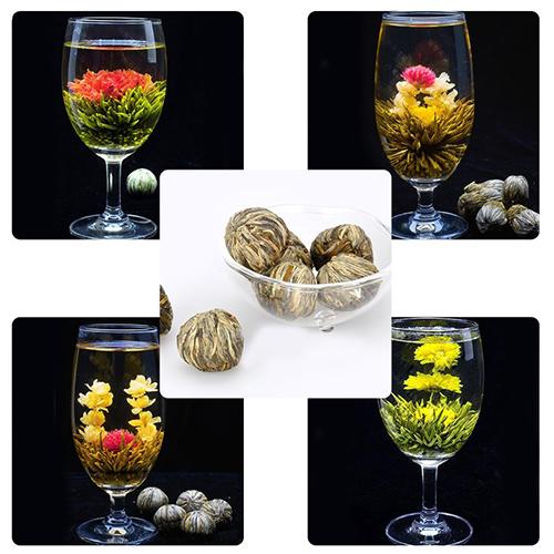 4 Balls Chinese Handmade Different Blooming Flower Green Tea Chic Design(China (Mainland))
