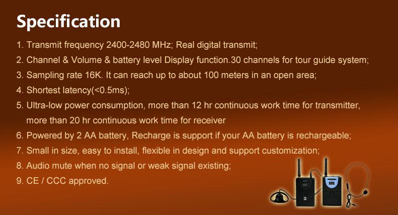 TP-Wireless 2.4GHz Custom Logo Digital Wireless Tour Guide,HDCD Audio Effective 1transmitter 10receivers