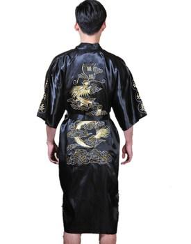 Морской синий китайский мужчины в шелк атлас вышивка кимоно халат платье дракон 4 ...