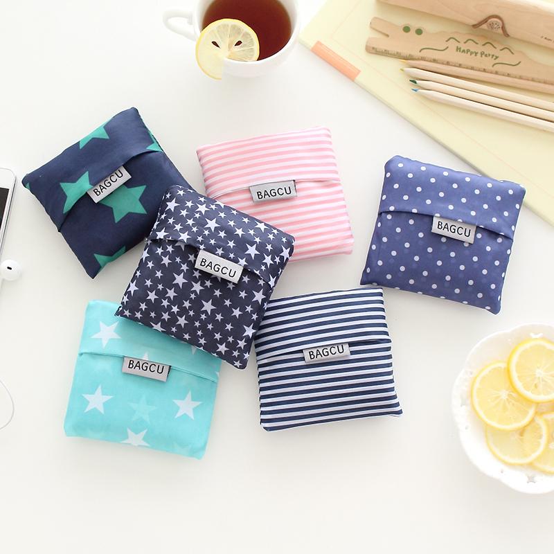1 PC Hot Unisex Women Star Dots Striped Reusable Portable Shopping Bag Grocery Handbags Tote Environmental Folding Holders Bags(China (Mainland))