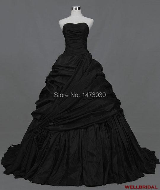 Благородный бальное платье складки тафты черный свадебное платье 2014 поставщик-продажи jj298