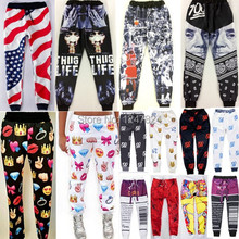 2015 new arrive Girl/women Emoji joggers pants print cartoon gym running sport Hip Hop sweatpants autumn/winter jogging trousers(China (Mainland))