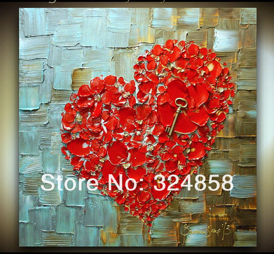 Acrylic Abstract Red Heart Cherry Blossom Modern Palette