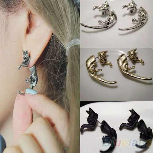 1 PC Popular Long Tail Small Leopard Cat Puncture Stud Earrings for Men Women Silver/Gold/Black Fine jewelry 02RZ 3GQH(China (Mainland))
