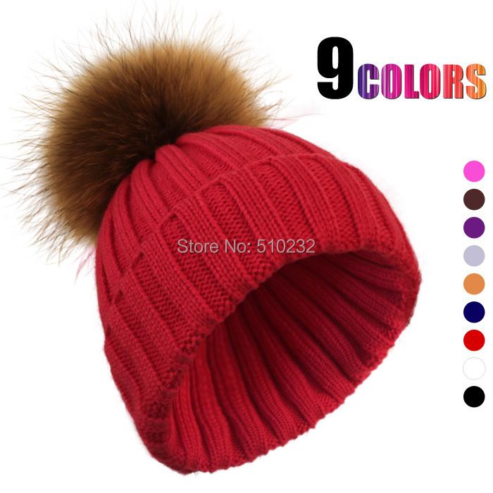 JSFUR Brand Women Winter Hats Wholesale Custom Logo Caps With Large Raccoon Fur Pom Poms Hip-hop Fashion Kintted Warm Hat Fall(China (Mainland))