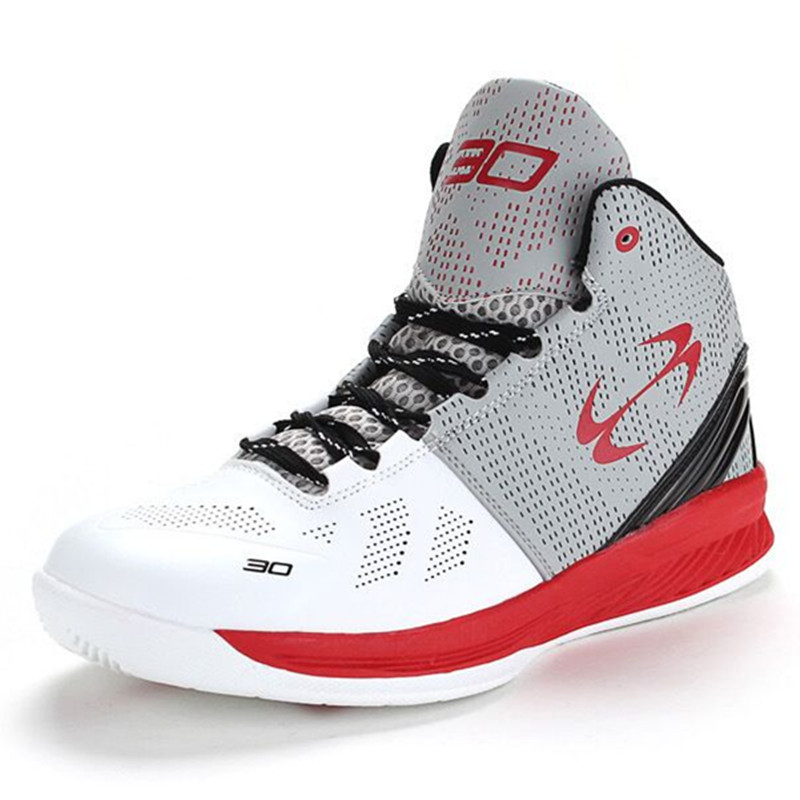 2016 Men's Fashion High Quality Sneakers Red Gray and White <font><b>Basketball</b></font> Boots Indoor <font><b>Basketball</b></font> <font><b>Shoes</b></font> #FBS2006W