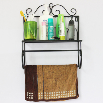 Bathroom wool bath towel hanging rod rack shelf set hardware