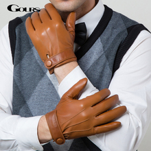 Gours Winter Genuine Leather Gloves Men New Brand Goatskin Black Fashion Driving Touch Screen Gloves Goatskin Mittens GSM036(China (Mainland))