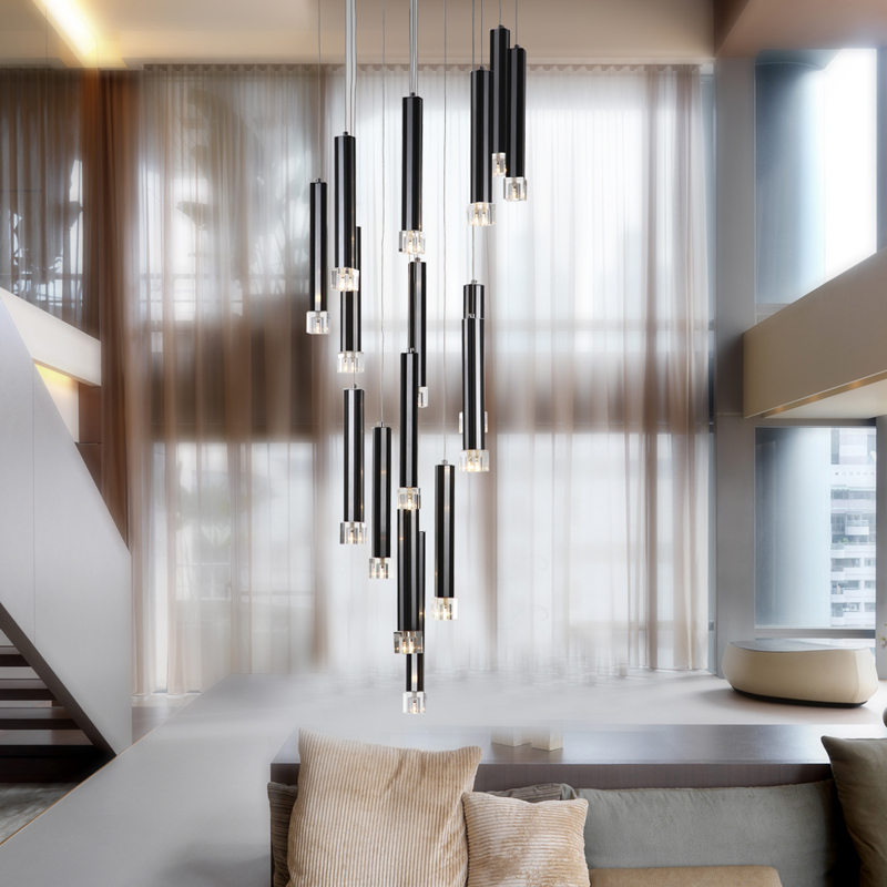 22 dining room pendant light modern 16 pcs black aluminum tube clear crystal cube living room - Modern pendant lighting for dining room ...