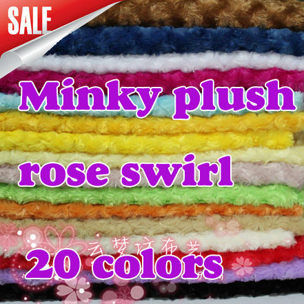 Big Sale, ROSE/ROSETTE SWIRL MINKY FABRIC CUDDLE VELBOA - PV plush fabric 17 colors available SOLD BY THE YARD FREE SHIPPING(China (Mainland))