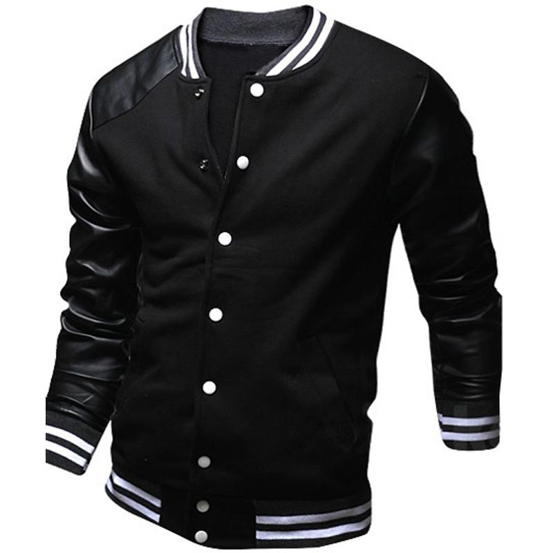 Cool College Baseball Jacket Men 2017 Fashion Design Black Pu Leather Sleeve Mens Slim Fit Varsity Jacket Brand Veste Homme Xxl(China (Mainland))
