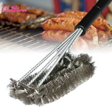 grille grill BBQ Brush Barbecue Cleaner 3 Steel Wire Heads Effortless Cleaning 45cm Plastic handle(China (Mainland))