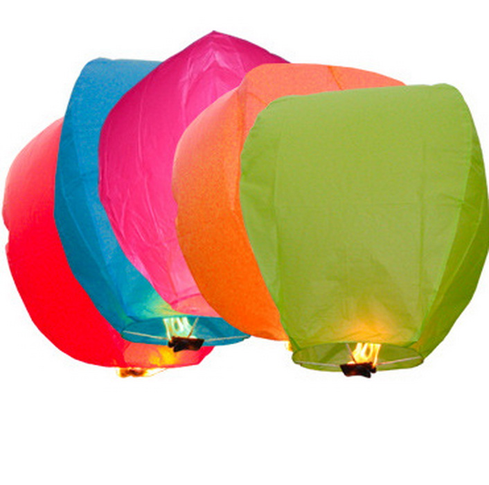Drop Shipping 10pcs Multi-Color Paper Chinese Lanterns Fire Sky Fly Candle Lamp for Birthday Wish Party Wedding(China (Mainland))