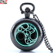 New Black doctor who Design pocket Watch Necklace Vintage Pendant  Wholesale price Fast Shipping(China (Mainland))
