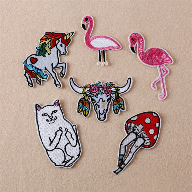 Flamingo Unicorn Embroidery Patches Hand Sewing Applique For Stripes Clothing Accessory Jacket Shoe Hat Bag Clothing TB023(China (Mainland))