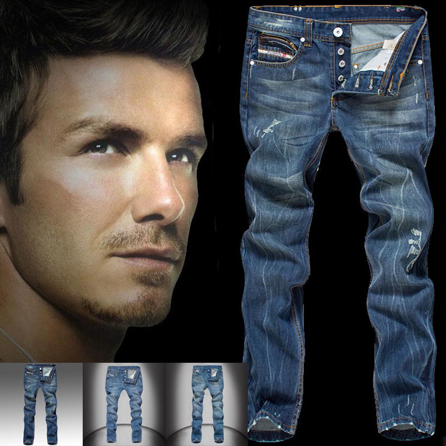 European Fashion Men's Jeans Italian Famous Brand Ripped Jeans Men Casual Pants Denim Jeans Trousers Blue Color Printed Jeans