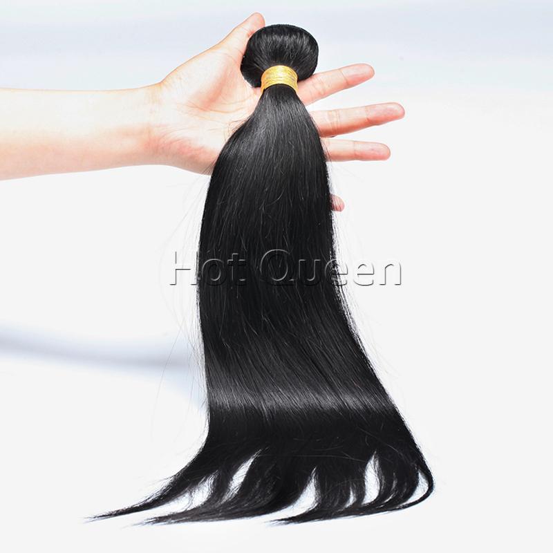 Malaisie vierge armure de cheveux raides noir # 1b non transformés vierge péruvienne Extension de cheveux humains faisceaux de cheveux droite soyeuse 1 pcs(China (Mainland))
