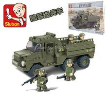 Sluban playmobil Enlighten Child B0301 Educational Army Truck  Assembles Particles Block Toys scale models DIY Model(China (Mainland))