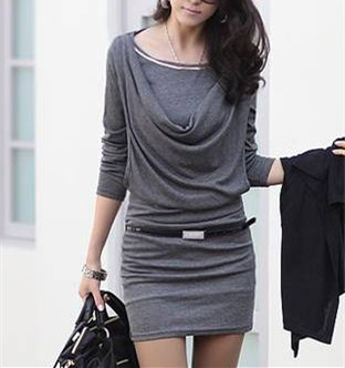 Casual Pencil Striped Bottoming Mini Dress Long Sleeve O-Neck Cowl Collar Solid Black Grey 2016 New Hot Women's Clothing10172184(China (Mainland))