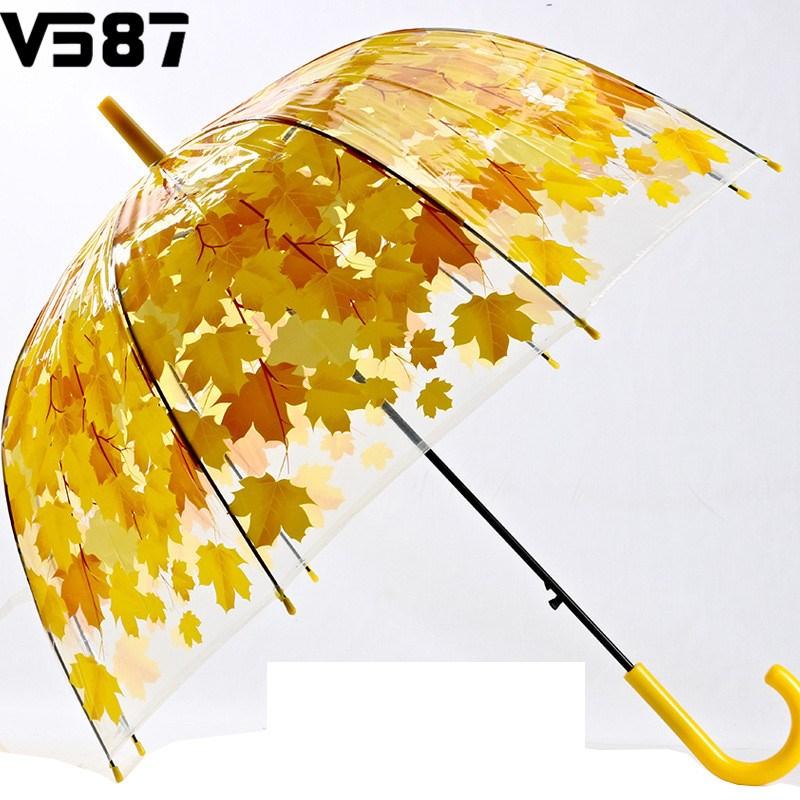 4 Colors Leaves Transparent Umbrella Rainny Sunny Umbrella Cute Arched Umbrella Women Clear Long Handle Princess Umbrella(China (Mainland))