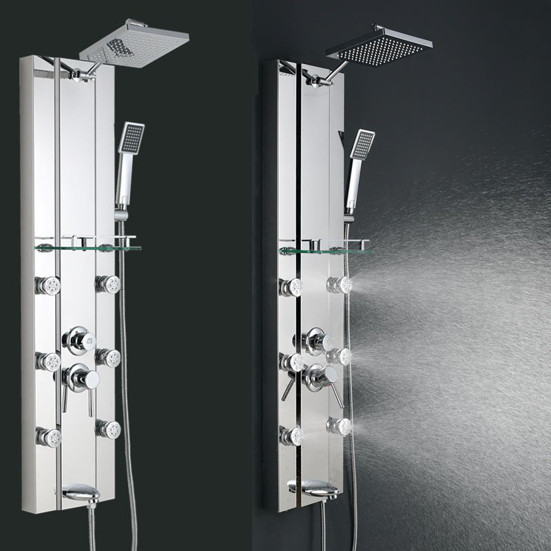 Fedex free shipping stainless steel rainfall shower panel for Shower tower with body jets