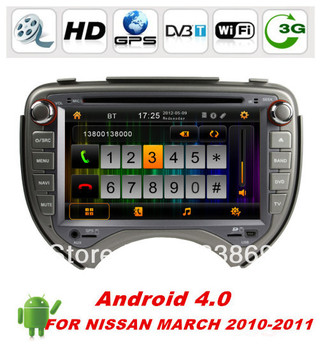 """Android 4.0 HD 7"""" 2din Android 4.0 Car DVD Player for Nissan March 2010-2011 With BT IPOD CPU:Cortex A10 1.0GHZ ,Memory:1GB DDR3"""