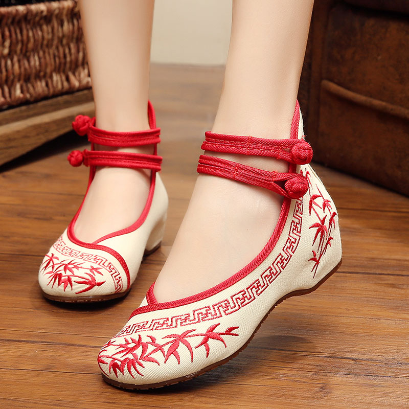 Fashion Women's Shoes Old Peking Mary Jane Flat Heel Denim Flats with Embroidery Soft Sole Casual Shoes Plus Size 40(China (Mainland))